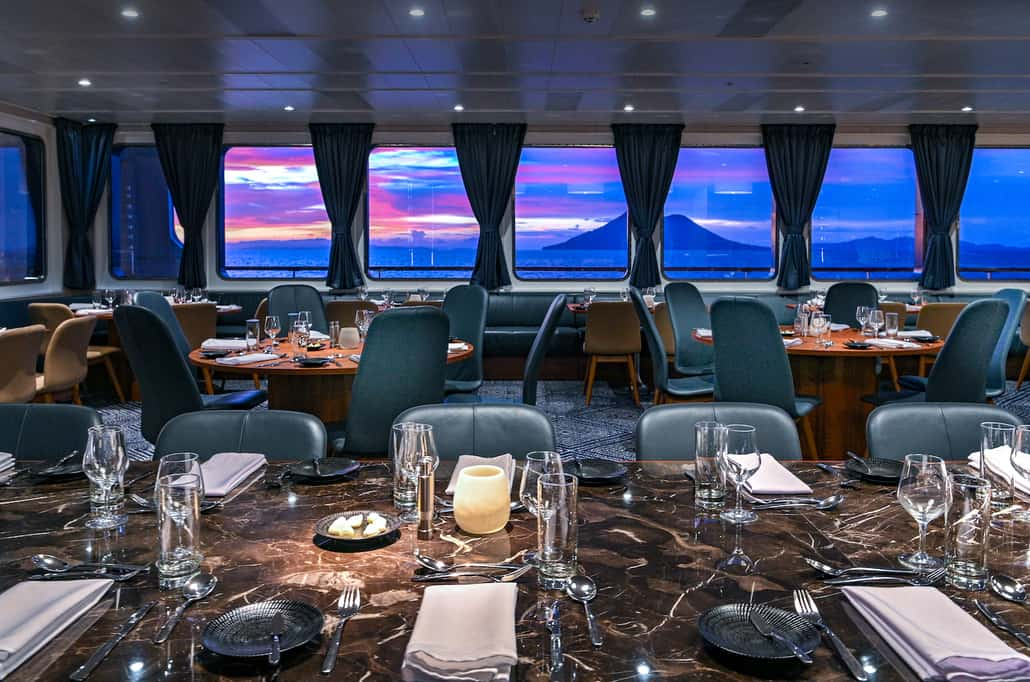 Dining on board Coral Expeditions Ships