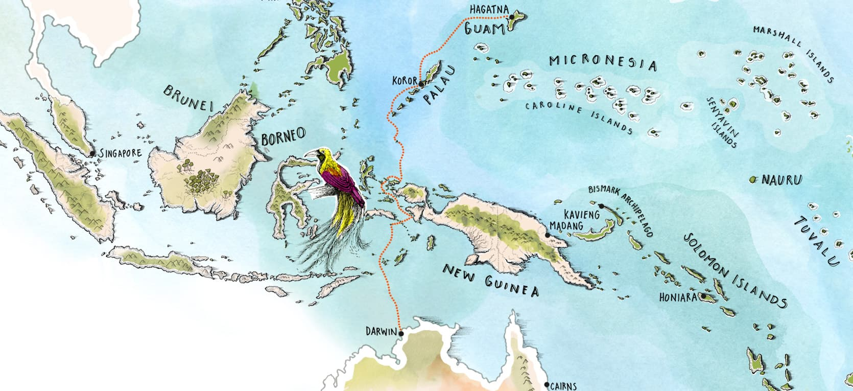 Small Islands of The World - Darwin to Guam Map