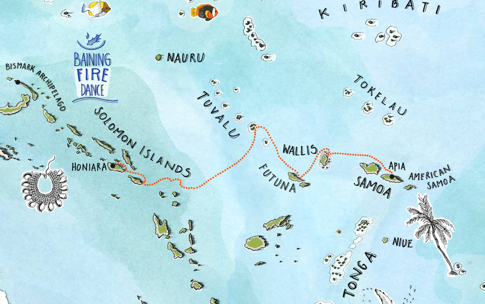 Small Islands of The World - Honiara to Apia Map