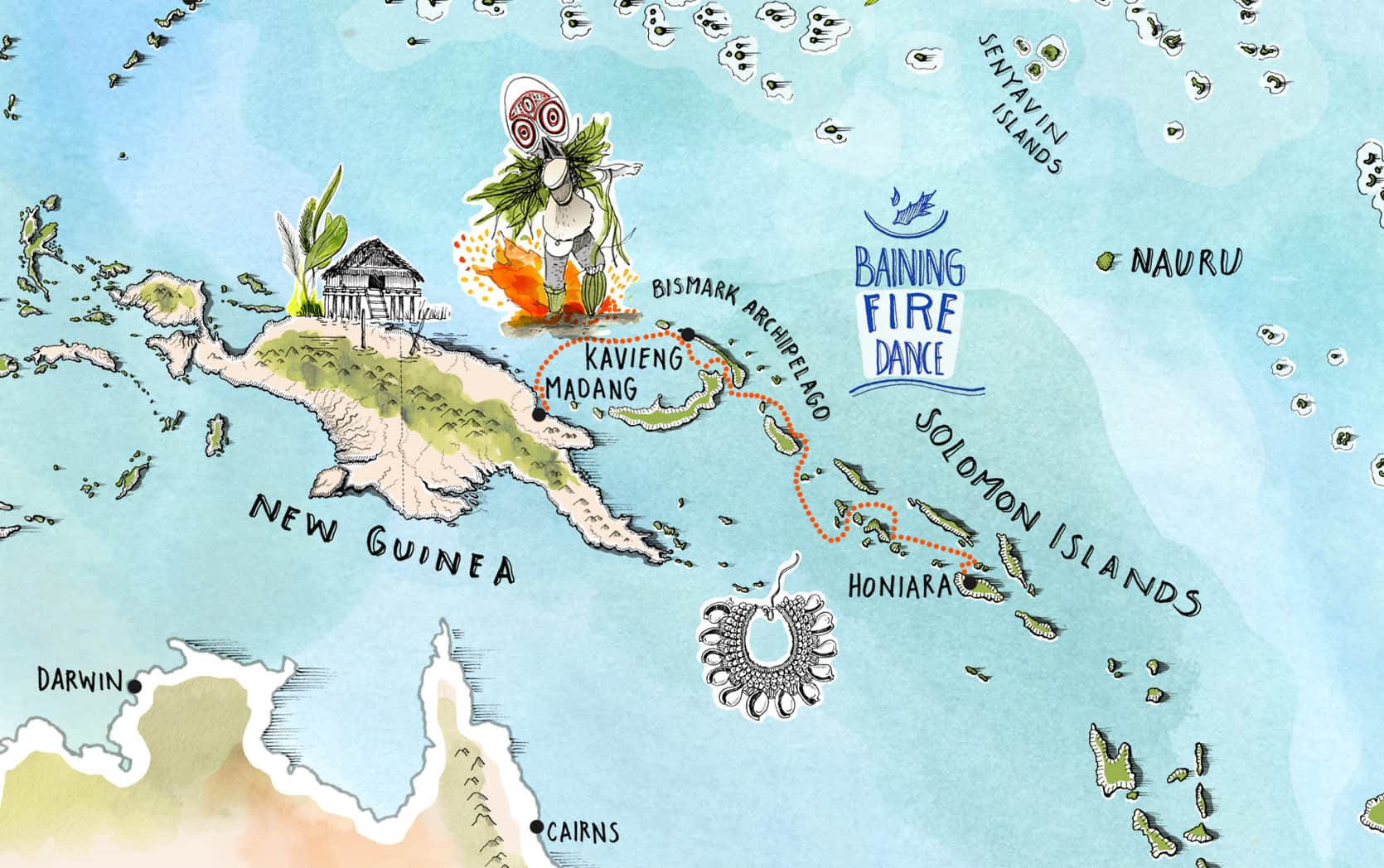Small Islands of The World - Madang to Honiara Map