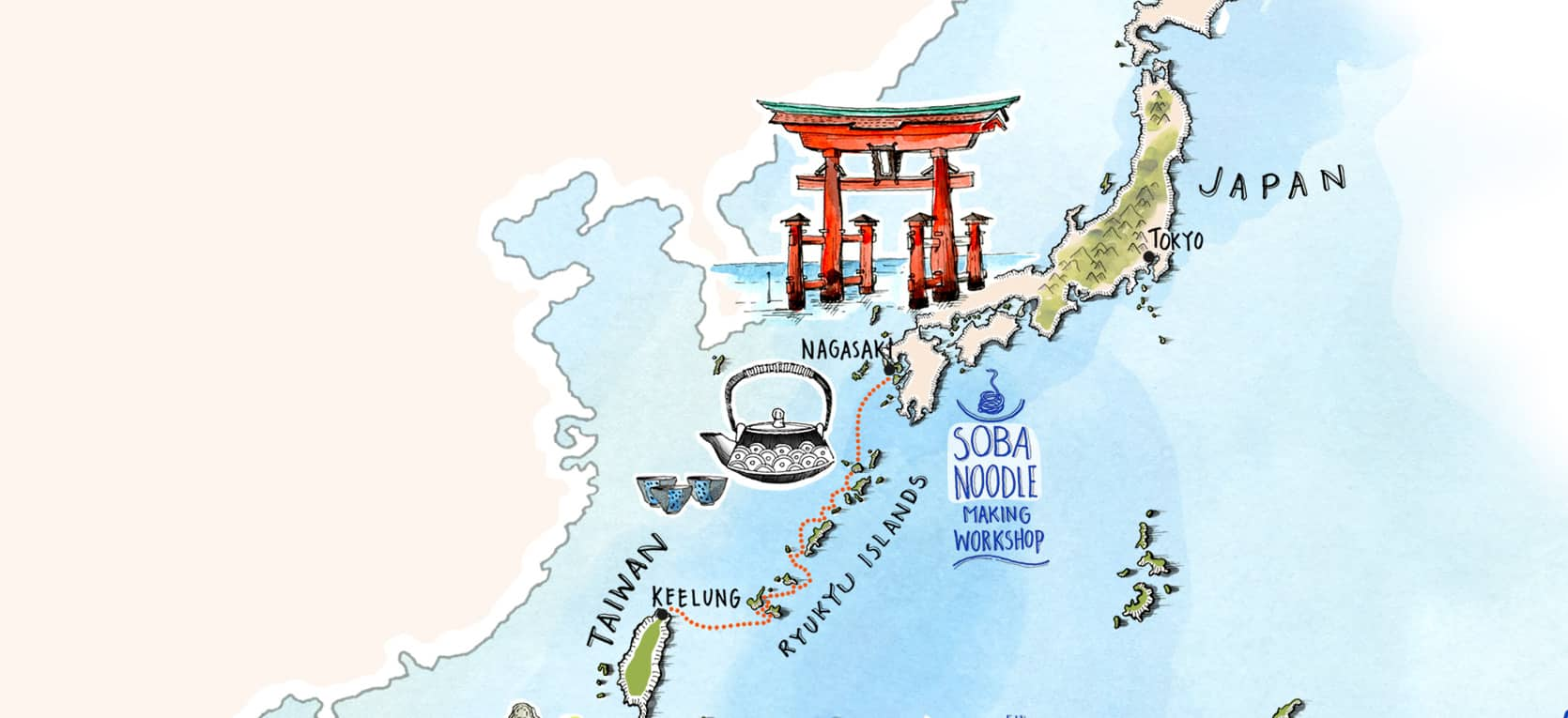 Small Islands of The World - Nagasaki to Keelung Map