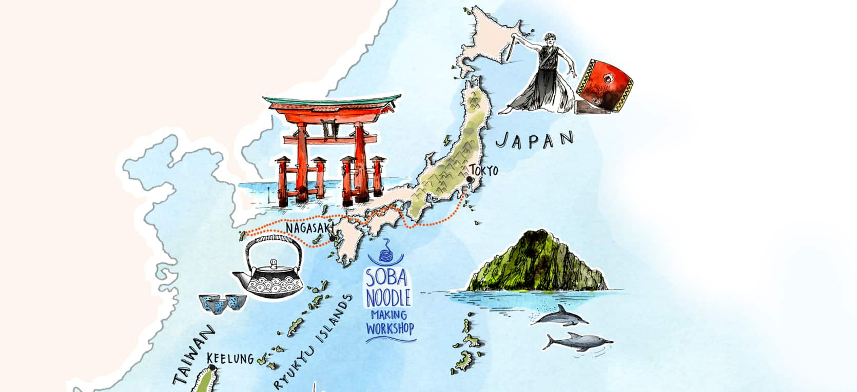 Small Islands of The World - Toyko to Nagasaki Map