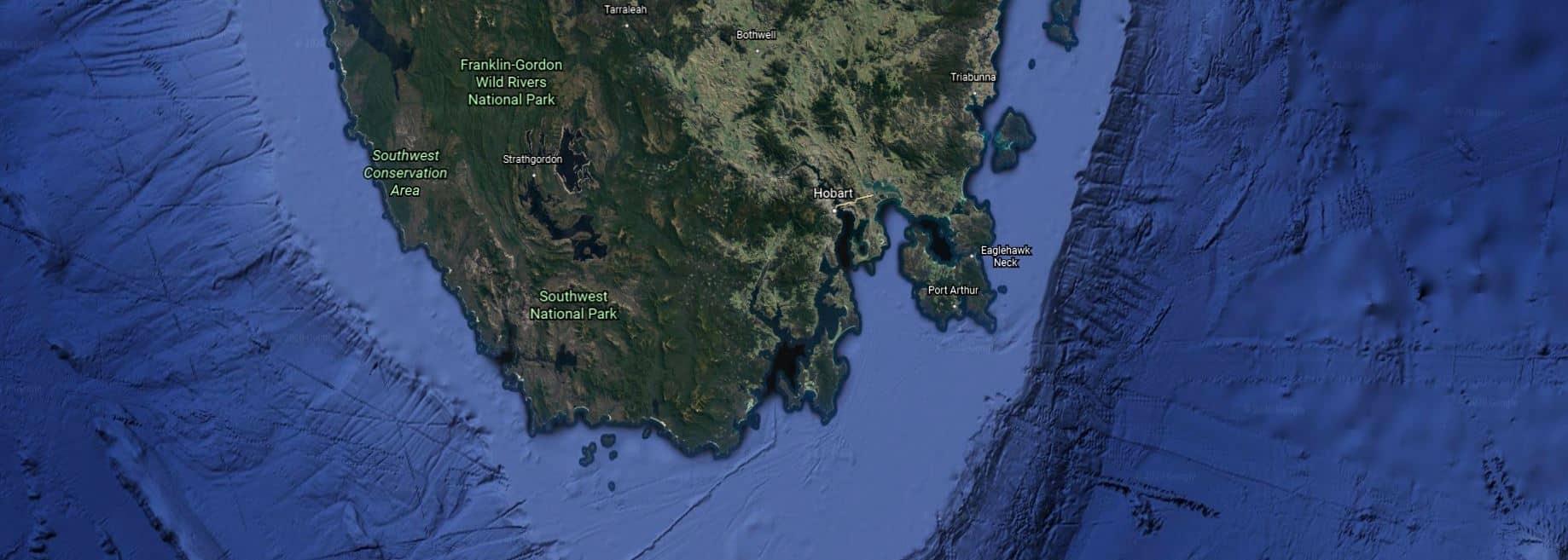 Map of southwest Tasmania. Google Earth