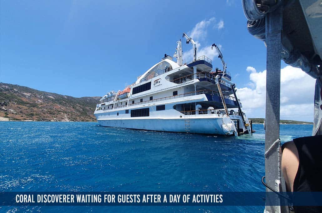 CORAL DISCOVERER WAITING FOR GUESTS AFTER A DAY OF ACTIVITIES