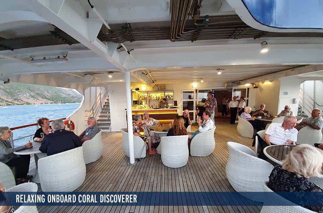 RELAXING ONBOARD CORAL DISCOVERER