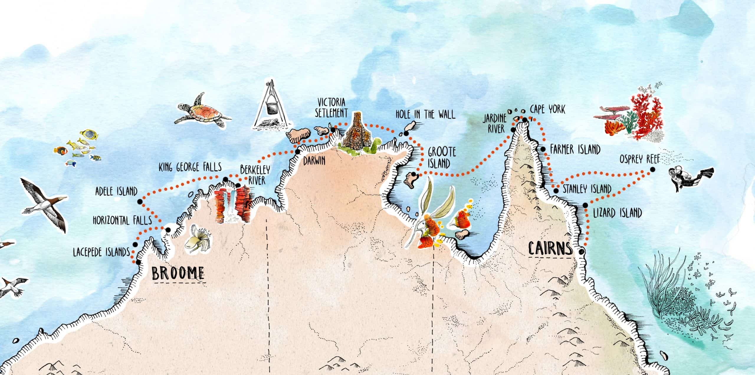 Across The Top Voyage Map Broome to Cairns 2022