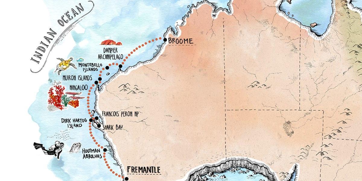 Abrolhos-Island-&-Coral-Coast-Cruise-Map